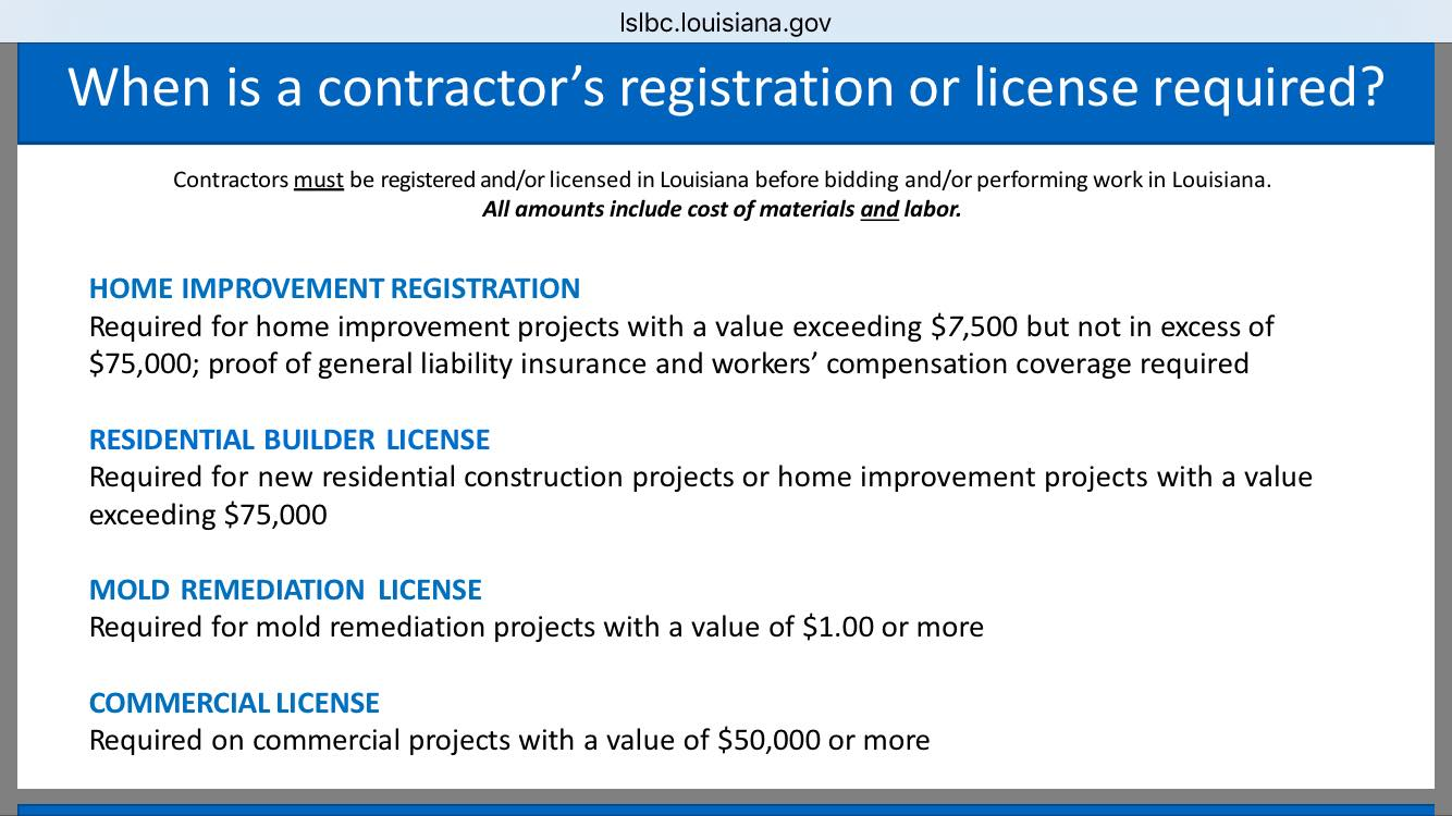 contrator license required